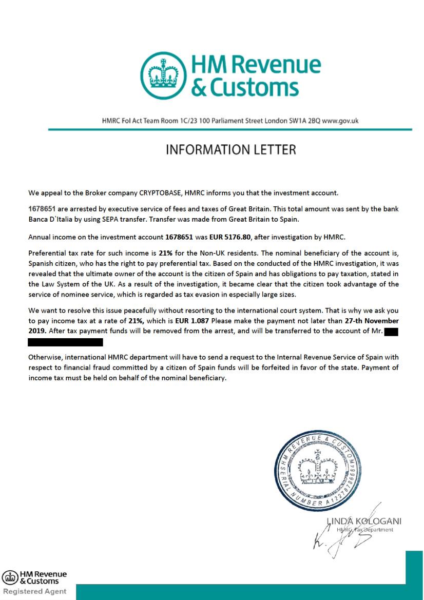 """HMRC Letter 2 — В Milton Group разводили людей с помощью """"инвестиционных"""" платежей"""