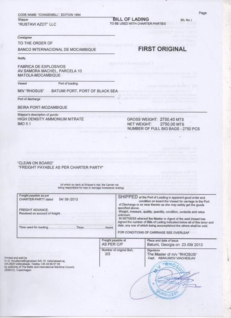 The bill of lading for the Rhosus' ammonium nitrate shipment. Credit: OCCRP