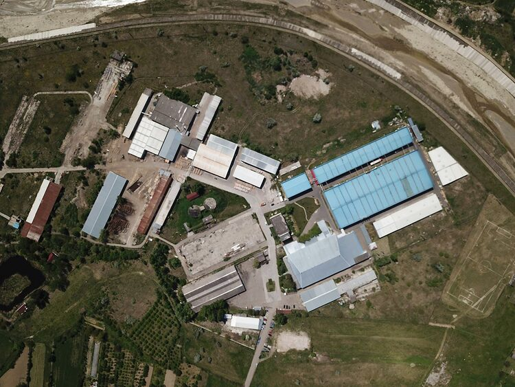 An arial view of a tobacco factory