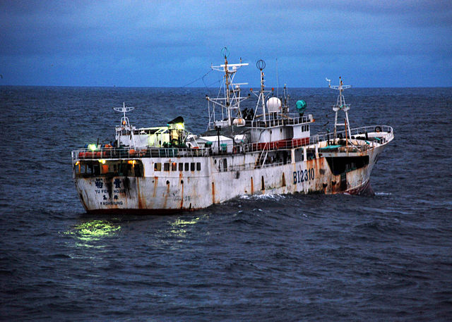 640px-US Navy 090817-G-6414E-003 u Feng a Taiwanese-flagged fishing vessel suspected of illegal fishing activity moves through the water
