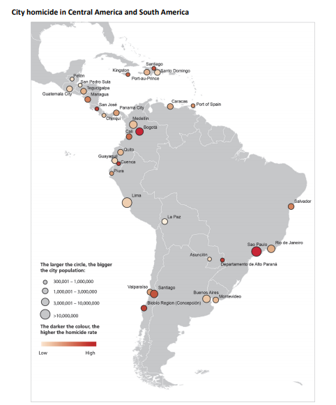 Homicide Rates in Central and South America (Source: UNODC)