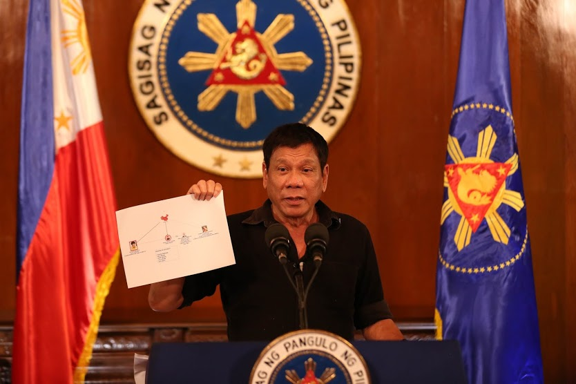 Rodrigo Duterte showing diagram of drug trade network 1 7.7.16