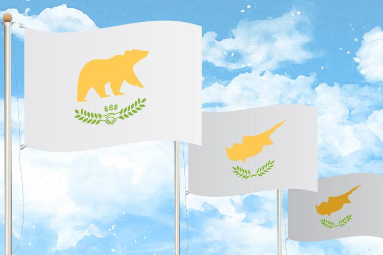 The flag of Cyprus, reimagined for the island country's new investor citizens. Photo: Edin Pasovic / OCCRP