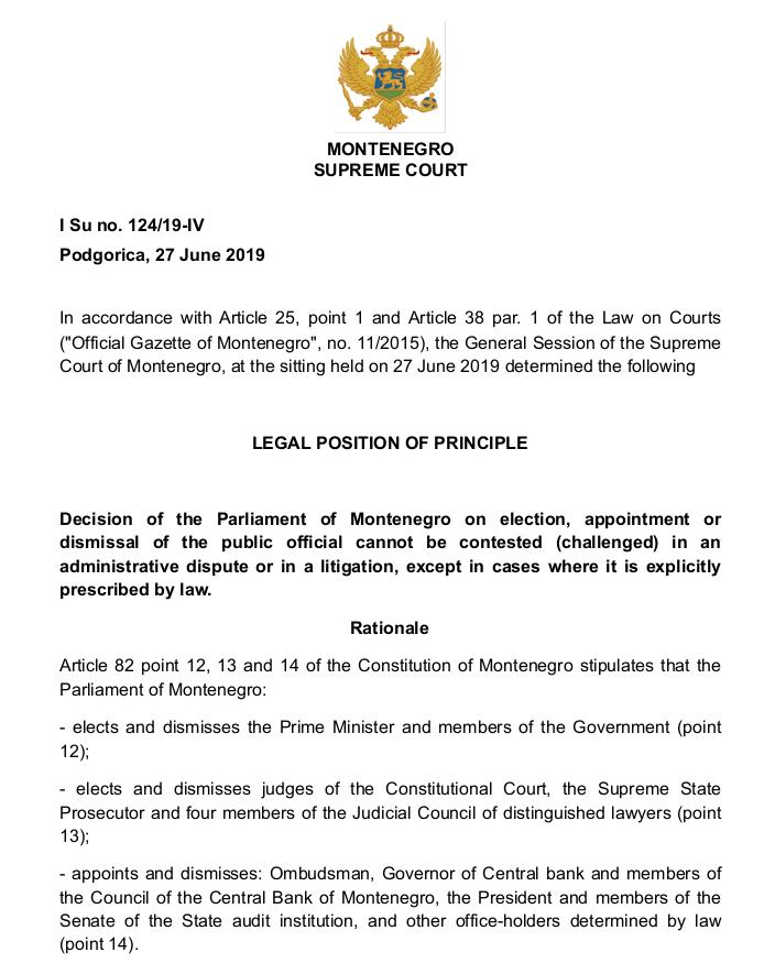Legal opinion by Supreme Court President Vesna Medenica(CREDIT: Cabinet of the President of the Supreme Court of Montenegro)