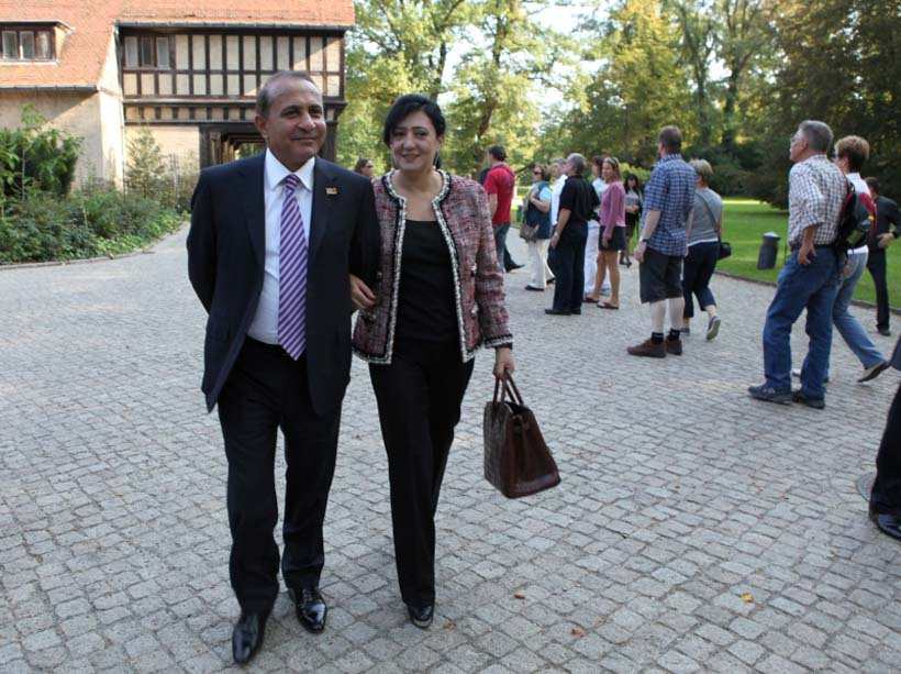 Prime Minister Abrahamyan with wife Julieta, who now has two businesses listed in her name.