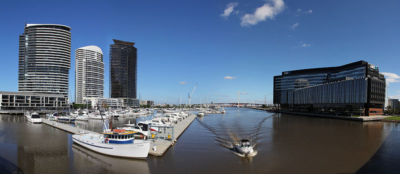 Melbourne Docklands View with ANZ Headquarter Building