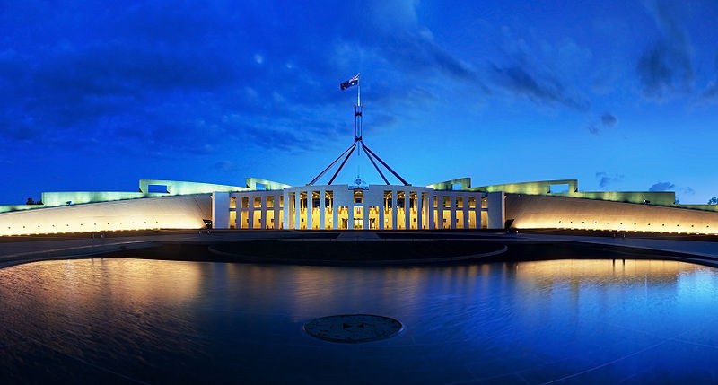 800px-Parliament House Canberra Dusk Panorama