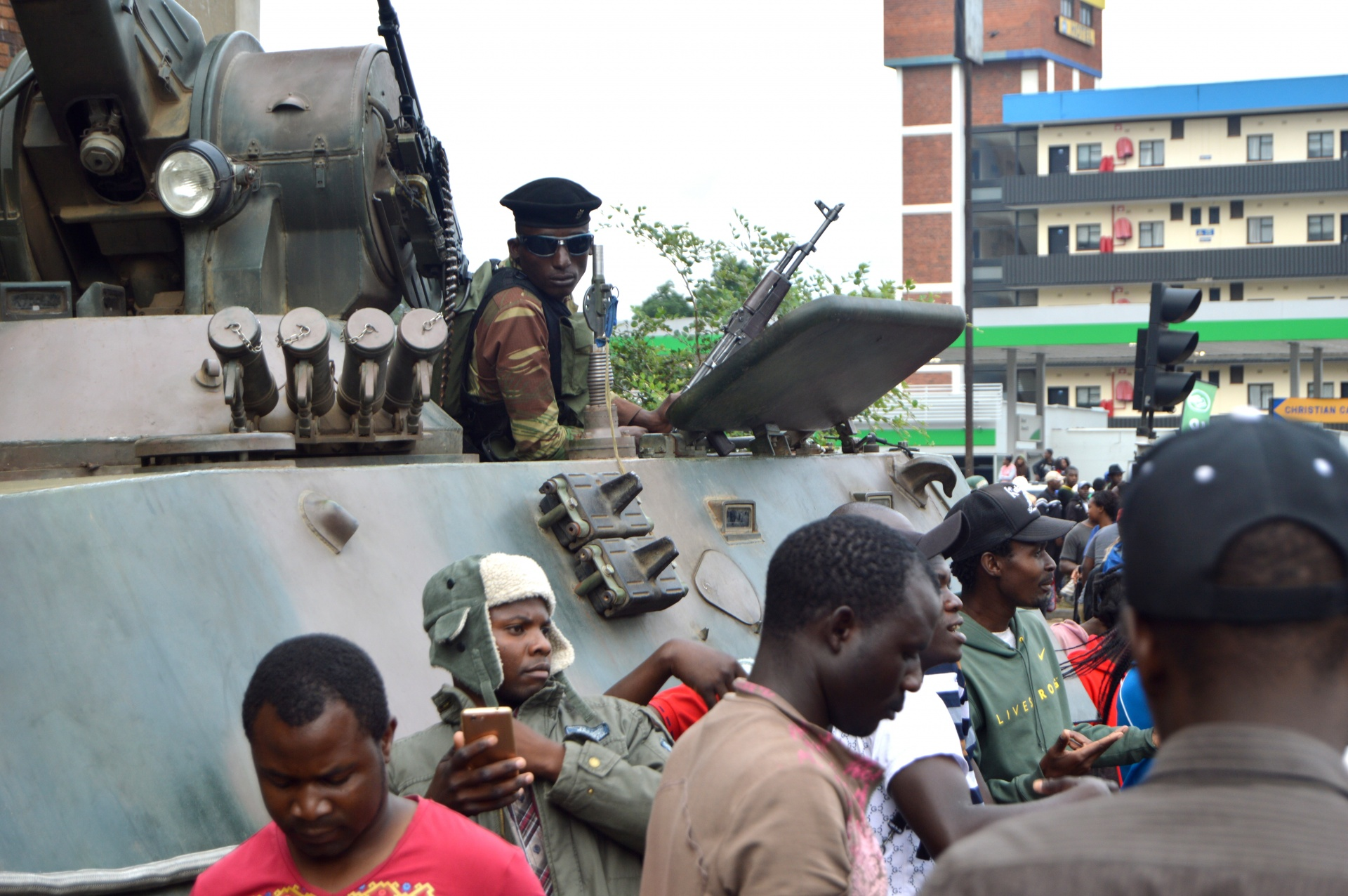 A tank in harare during the coup