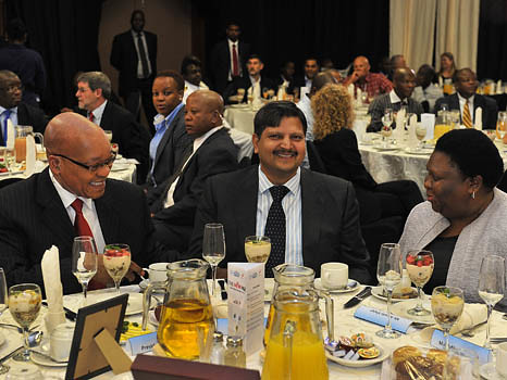 President Jacob Zuma and Atul Gupta at a breakfast in Port Elizabeth. Source: South African Government.
