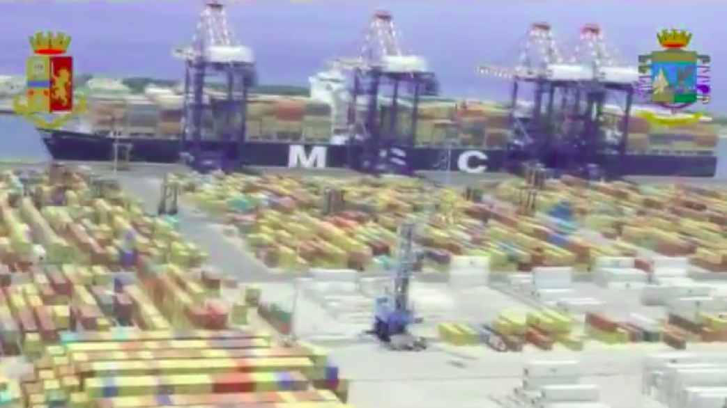 Police footage of one of the ports where the crime group was active (Italian State Police)
