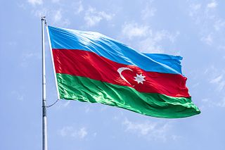 The national flag of Azerbaijan 2