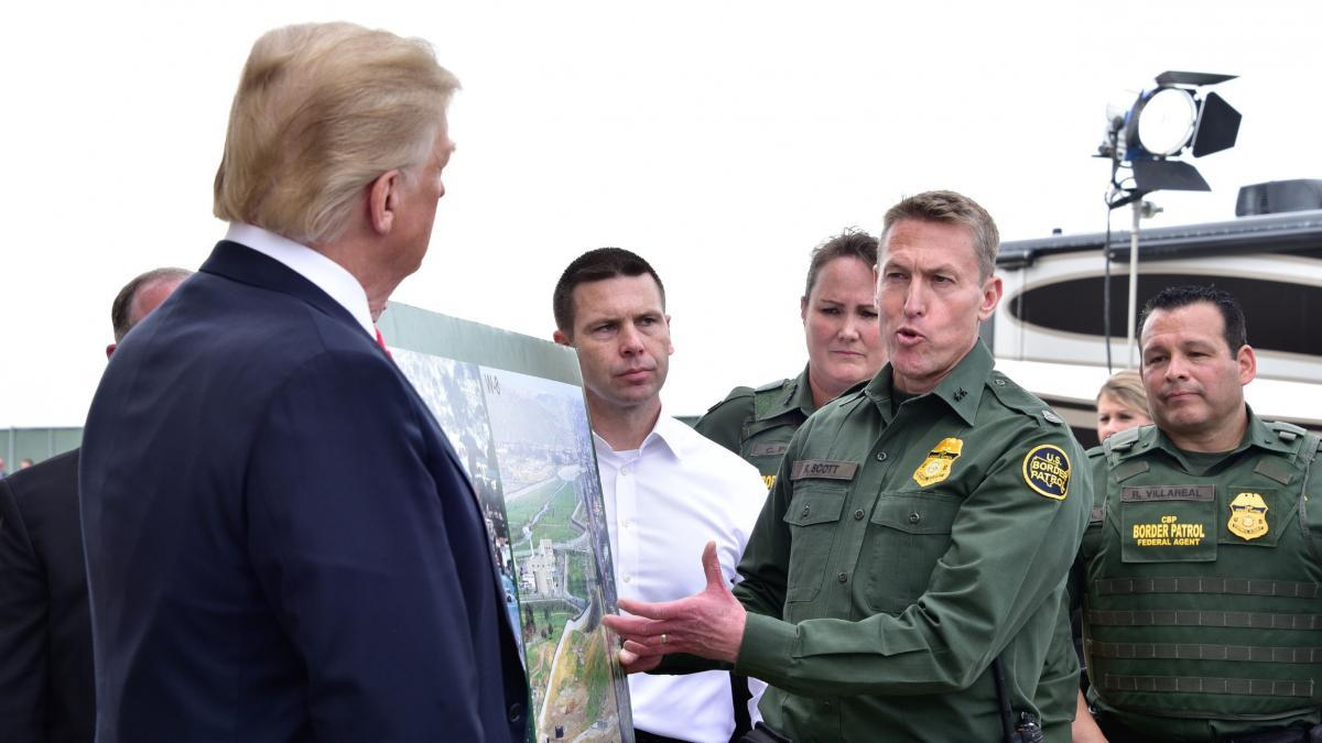 President Trump discusses border security with San Diego Border Patrol Sector Chief Patrol Agent Scott (From U.S. Customs and Border Protection)