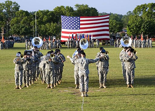 U.S. Soldiers of 434th Signal Corps Band play on the field during the opening ceremony at Signal Center commanding general change of command ceremony on Fort Gordon Ga. July 21 2010 100721-A-NF756-001 1