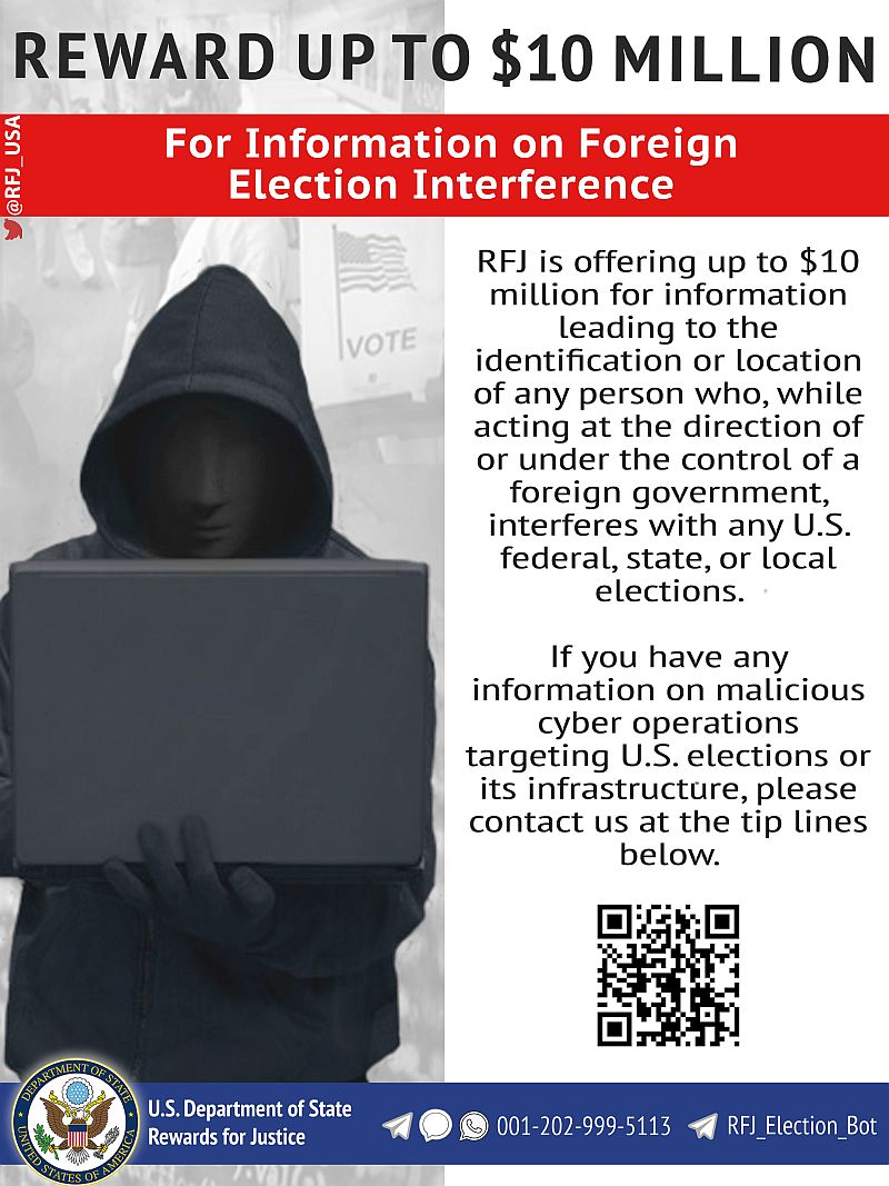 U.S. Offers $10M Reward to Prevent Foreign Interference in Elections