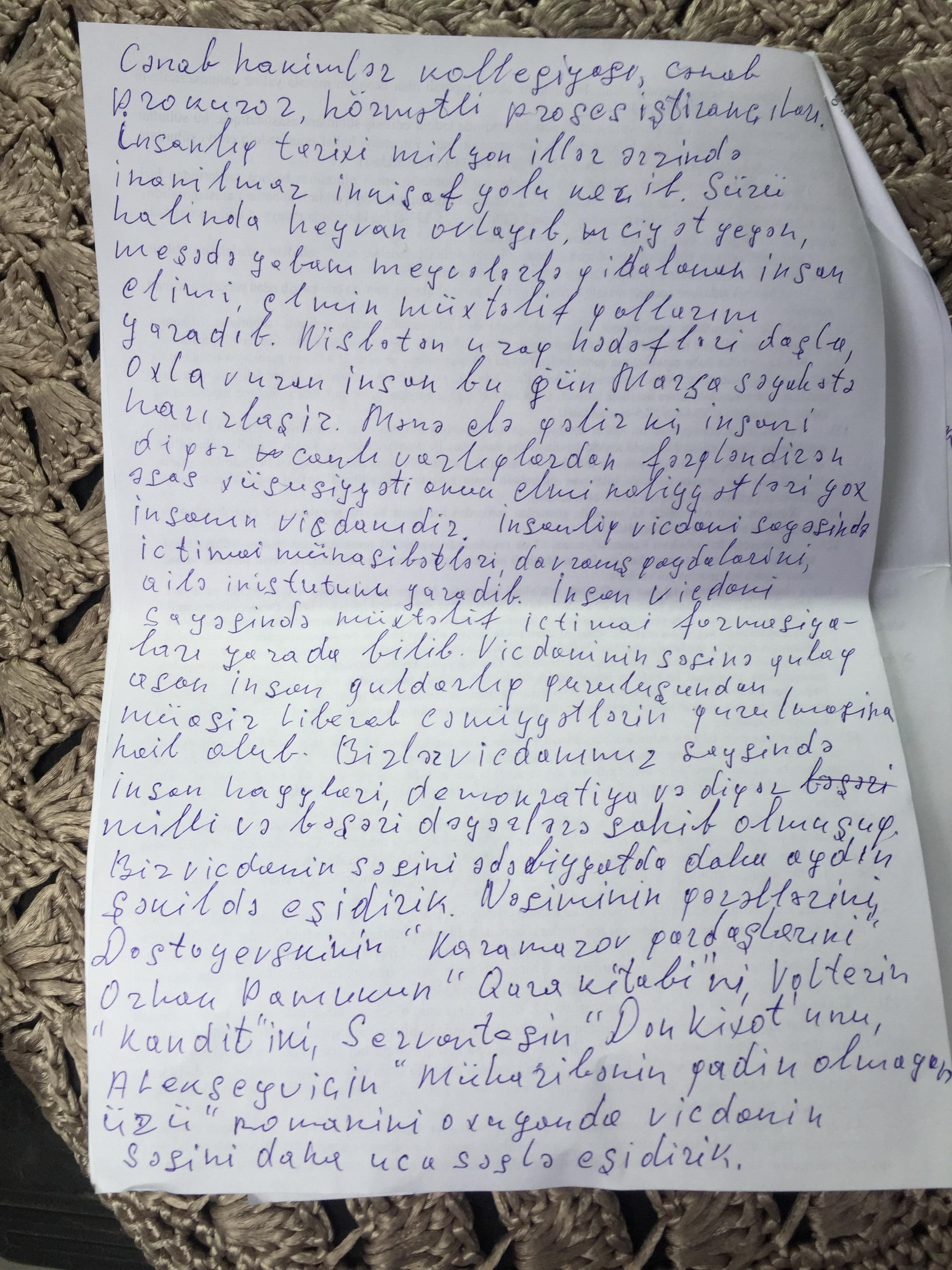 Mukhtarli's Hand-Written Letter to the Judge