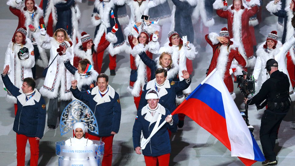 Russian athletes enter the stadium at the opening ceremony of the Winter Olympics in Sochi, Russia, in 2014. (Photo: http://premier.gov.ru/)