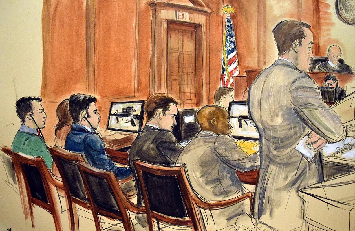 Courtroom artist Elizabeth Williams depicts (from left) Franqui Francisco Flores de Freitas in headphones, defense attorney Elizabeth A. Espinosa, Efrain Antonio Campo Flores in headphones, defense attorneys John T. Zach and Randall W. Jackson and Assistant US Attorney Emil J. Bove, standing. (Associated Press)