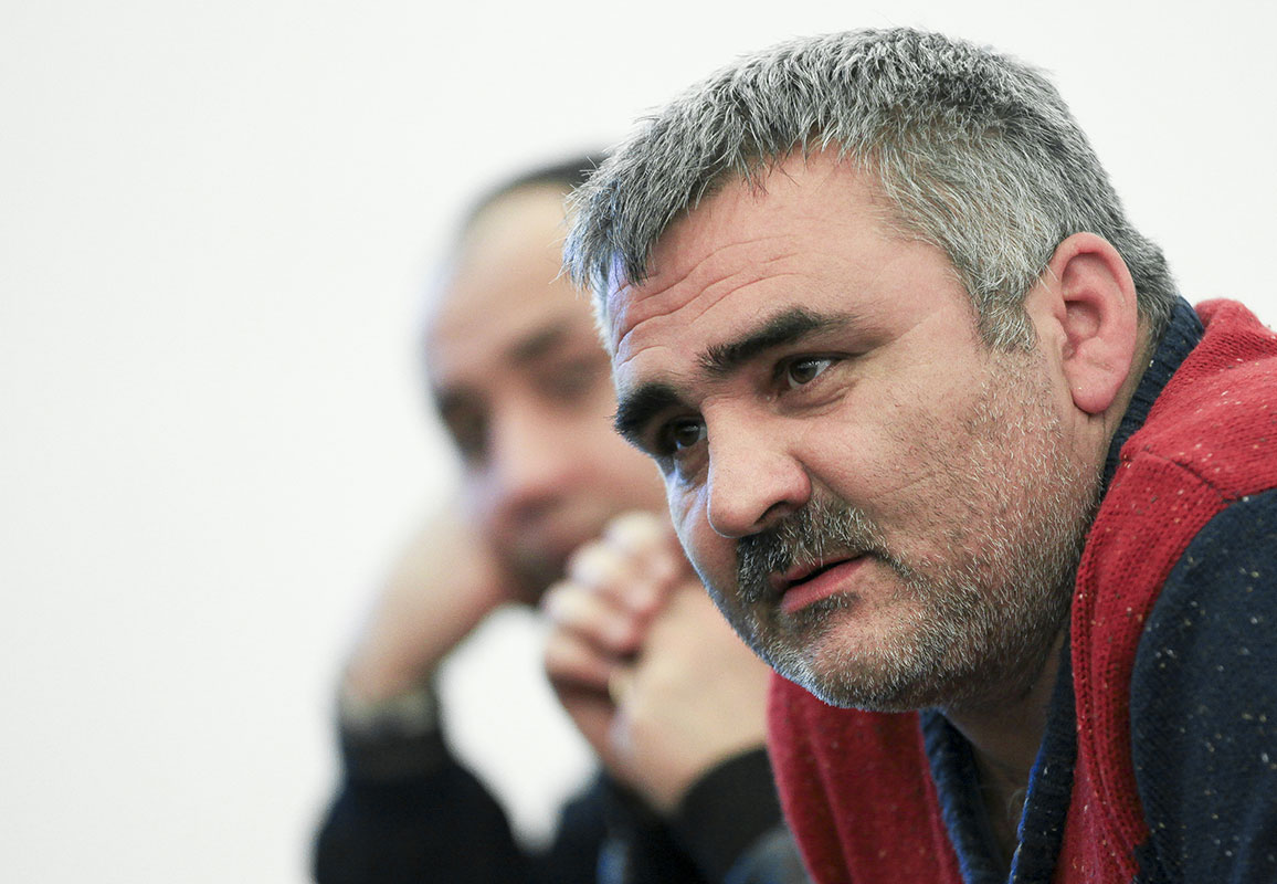 In this March 2, 2014 photo, Azerbaijani journalist Afgan Mukhtarli speaks at an event in Baku, Azerbaijan. (Photo: AP Photo/Aziz Karimov)