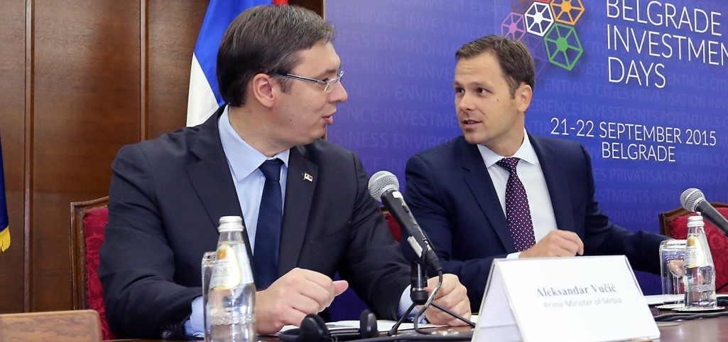 Serbian president Aleksandar Vucic with his close associate Sinisa Mali. Photo (c): KRIK.rs. All rights reserved