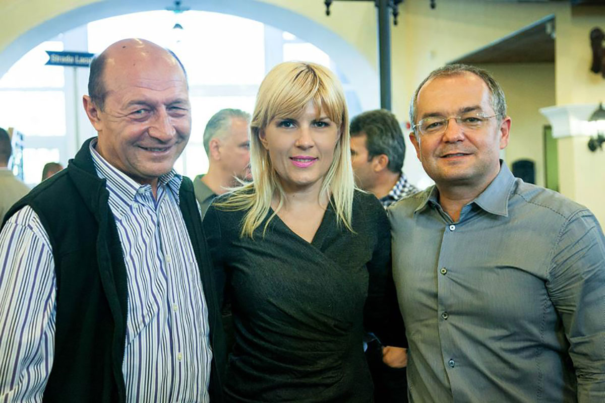 Former Romanian president Traian Basescu, Elena Udrea, and former prime minister Emil Boc during the 2014 electoral campaign.