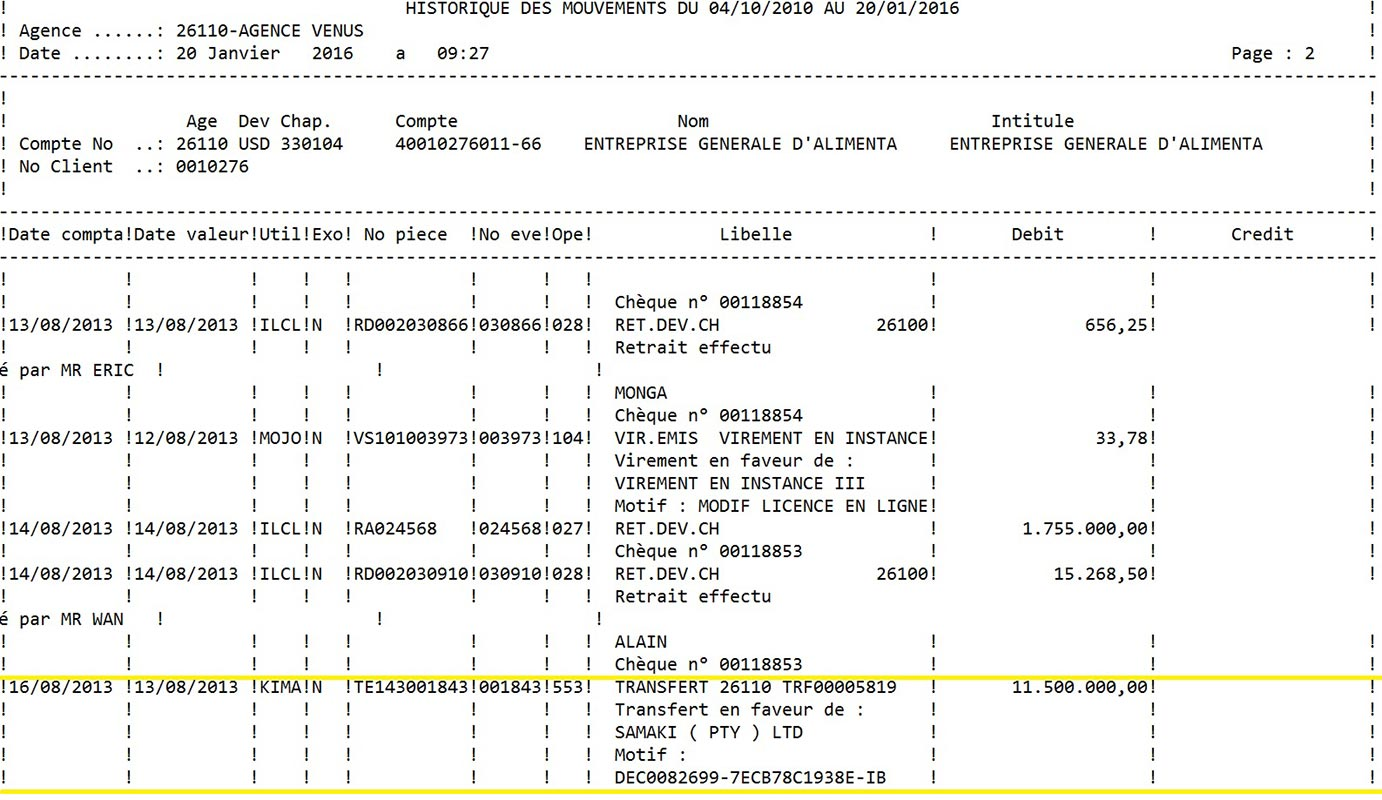 A excerpt from a transaction record shows an $11.5 million payment from EGAL to Samaki. (Click to enlarge)