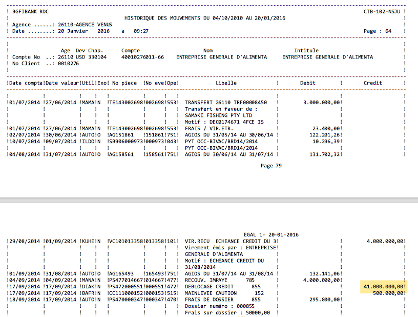 An excerpt from a transaction record shows a $41 million credit to EGAL's bank account at BGFI. (Click to enlarge)