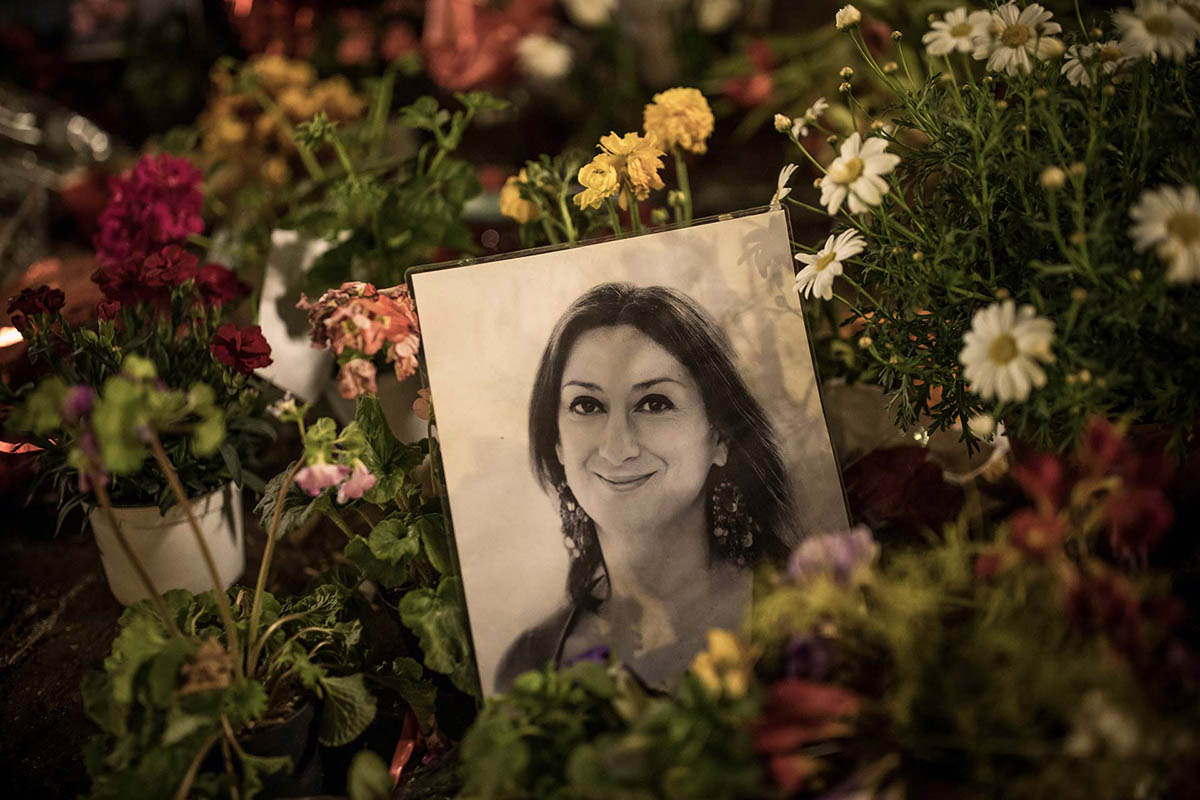 A tribute to Maltese journalist Daphne Caruana Galizia, murdered six months ago. Photo (c): Dan Kitwood