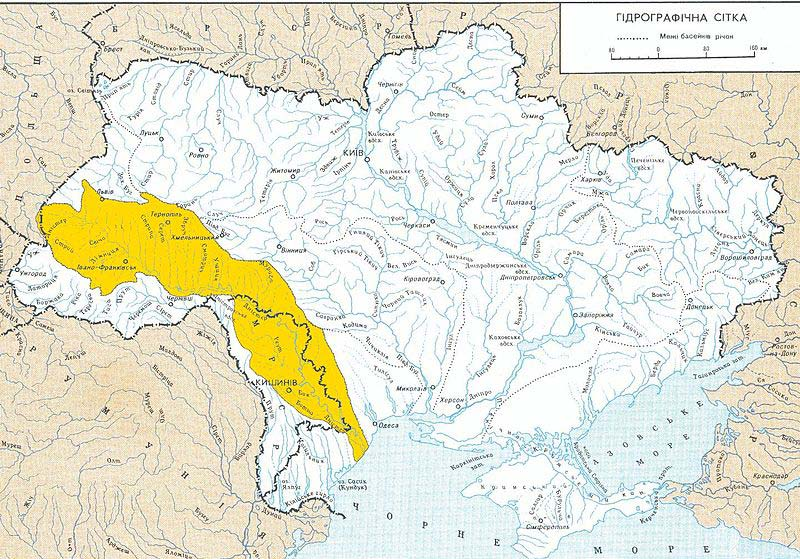The area shaded yellow is the part of  the Dniester River valley that may be poisoned. An estimated 10 million people in Ukraine and Moldova drink Dniester water.