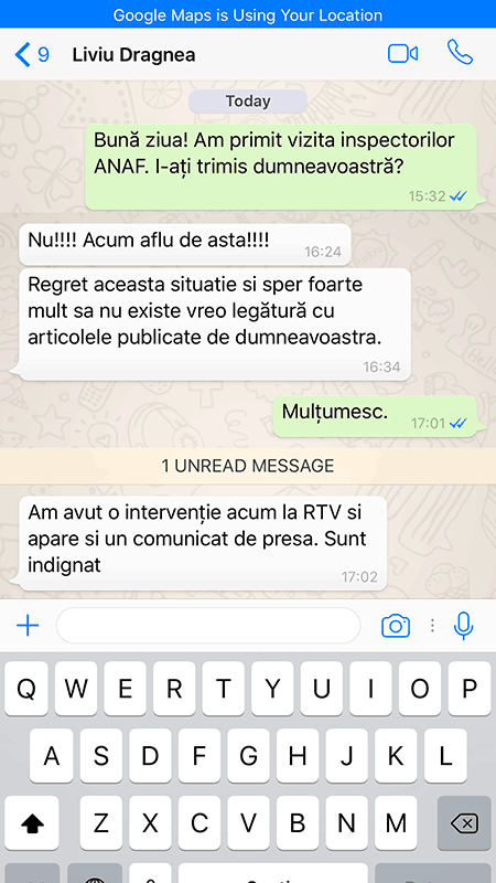 A screenshot of a WhatsApp message exchange in which Liviu Dragnea denies having anything to do with the unannounced inspection of RISE Project. (Photo: RISE Project)