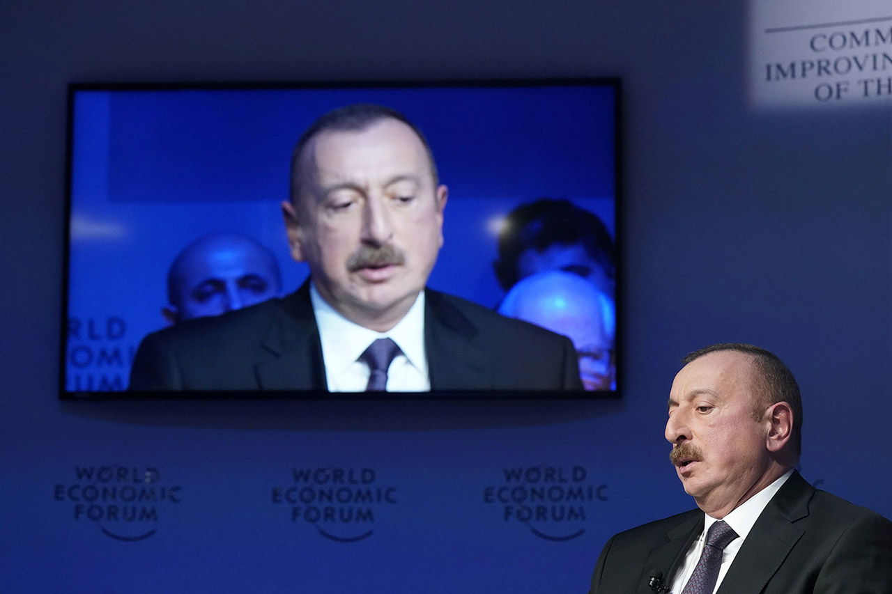 President of Azerbaijan Ilham Aliyev speaks during the World Economic Forum (WEF) annual meeting in Davos, Switzerland January 2018.