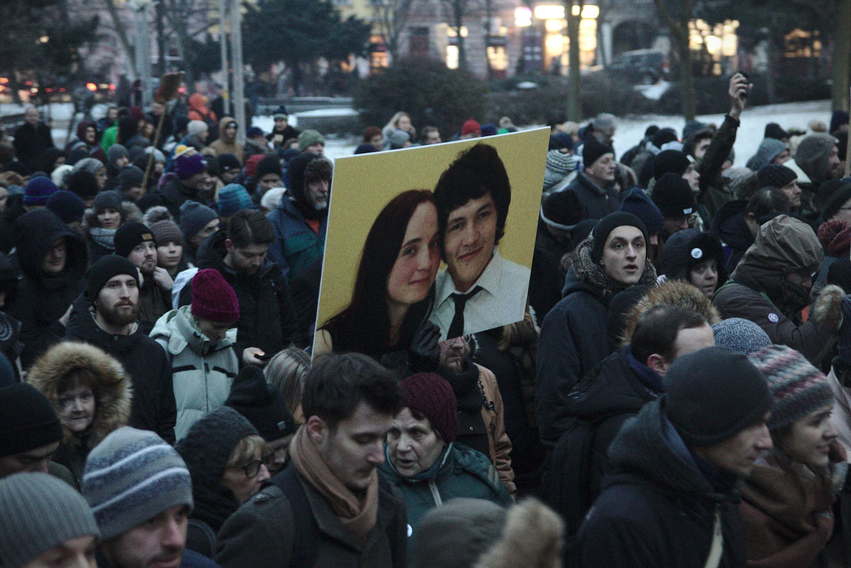 A demonstration in memory of murdered journalist Jan Kuciak and his fiancee Martina Kusnirova, Bratislava, March 2018. Credit: Peter Tkac