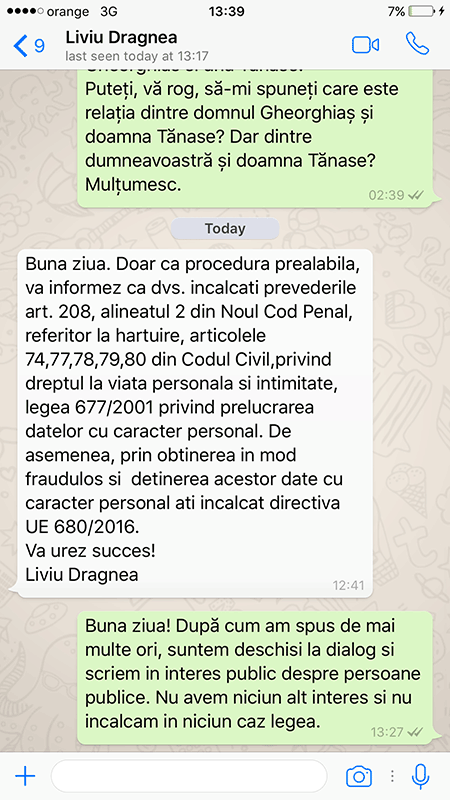 A screenshot of a WhatsApp message exchange in which Liviu Dragnea warns RISE reporters that they are breaking the law in their investigation of him (and wishes them good luck). (Photo: RISE Project)