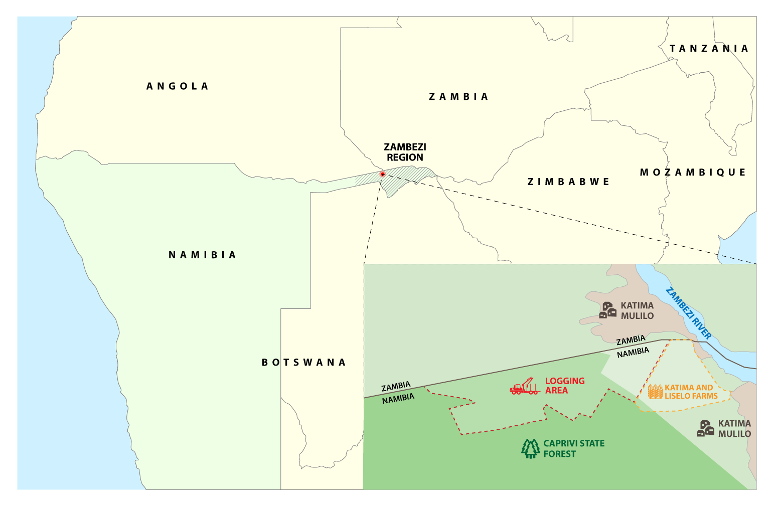 An analysis of satellite images shows where loggers crossed deep into the Caprivi State Forest. The park is in Namibia's Zambezi region. (Click to enlarge. Credit: Edin Pasovic)