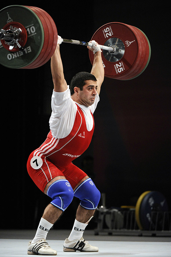 Tigran G. Martirosyan competes during the finals of the 2011 World Weightlifting Championships on November 10, 2011 in Chessy, near Paris. (Photo: AFP PHOTO / BERTRAND GUAY).