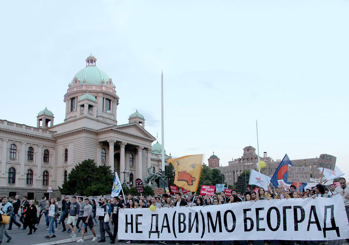Activists of the Ne Da(vi)mo Beograd movement hold a protest march in the Serbian capital after the demolition of buildings in Savamala. A criminal case has yet to be opened into the events of April 2016, which saw masked men destroy property in the Belgrade riverside district. Photo (c): KRIK.rs