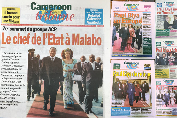 Pages from the Cameroon Tribune relating to Paul Biya's travels. OCCRP journalists used the state newspaper as a primary source to chart the president's numerous foreign trips since taking office. (Image: OCCRP / Authors.) Some rights reserved.