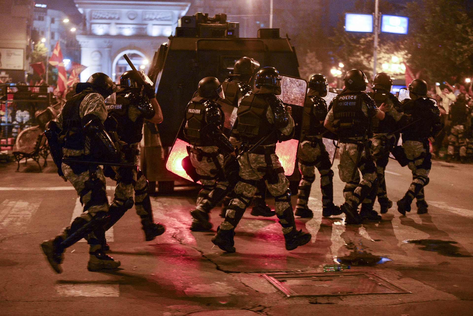 Riot police face off against protesters in the centre of Skopje, capital of the Republic of Macedonia. Credit: Robert Atasanovski