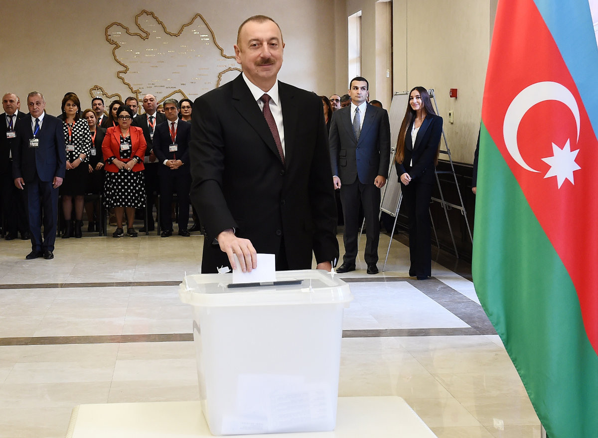 Azerbaijan's President Ilham Aliyev casts his vote during presidential elections, Baku, April 2018. Credit: Vugar Amrullayev / Azertac / Reuters