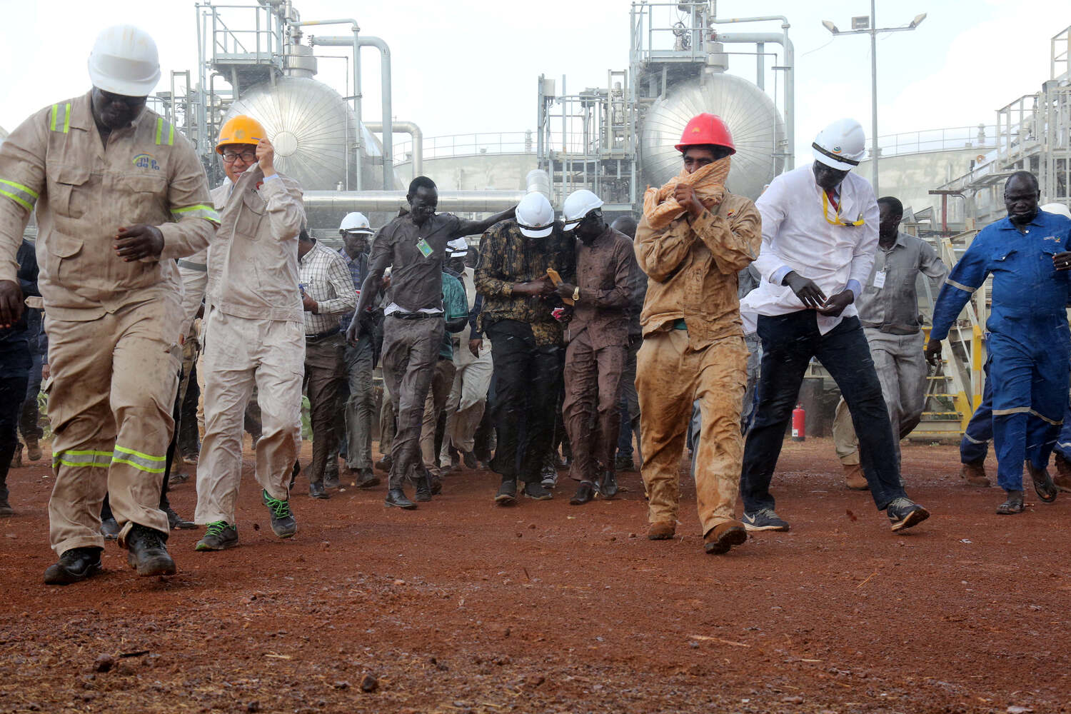 South Sudan's former Minister of Petroleum, Ezekiel Lol Gatkuoth, visits the Al-Nar oil fields north of Bentiu, South Sudan, in April 2019