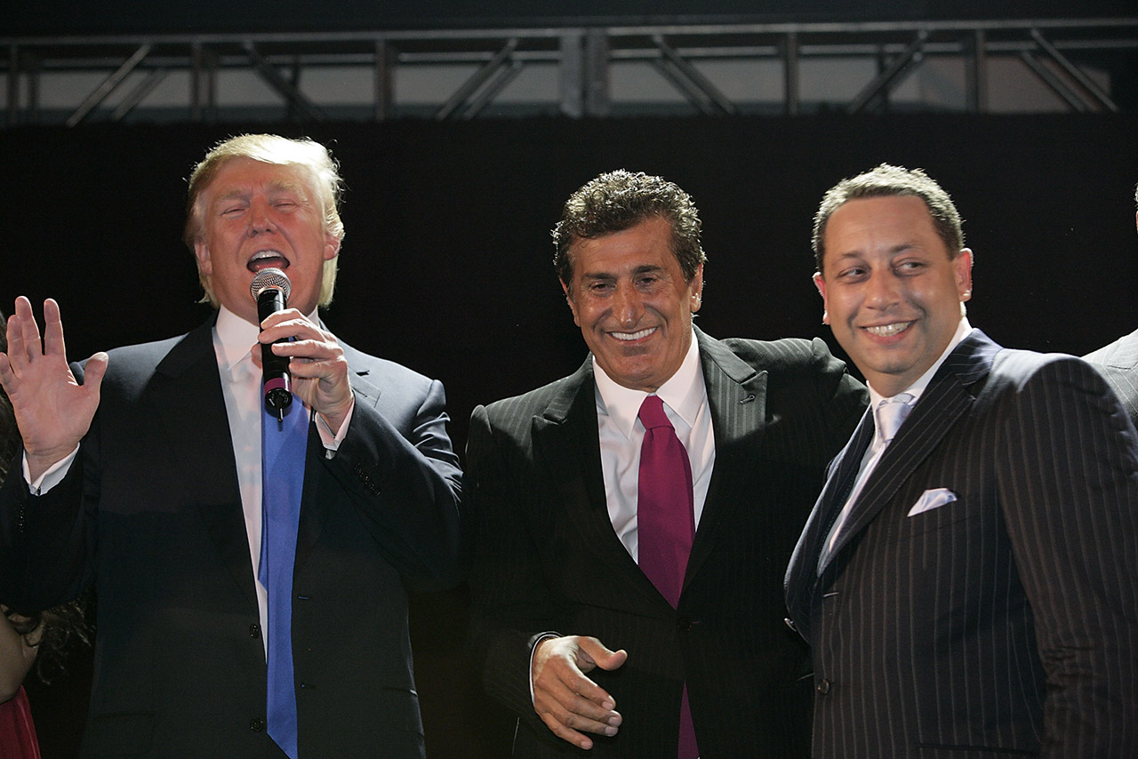 Donald Trump, Tevfik Arif, and Felix Sater attend the Trump SoHo launch party in September 2007 in New York. Credit: Mark von Holden / WireImage]