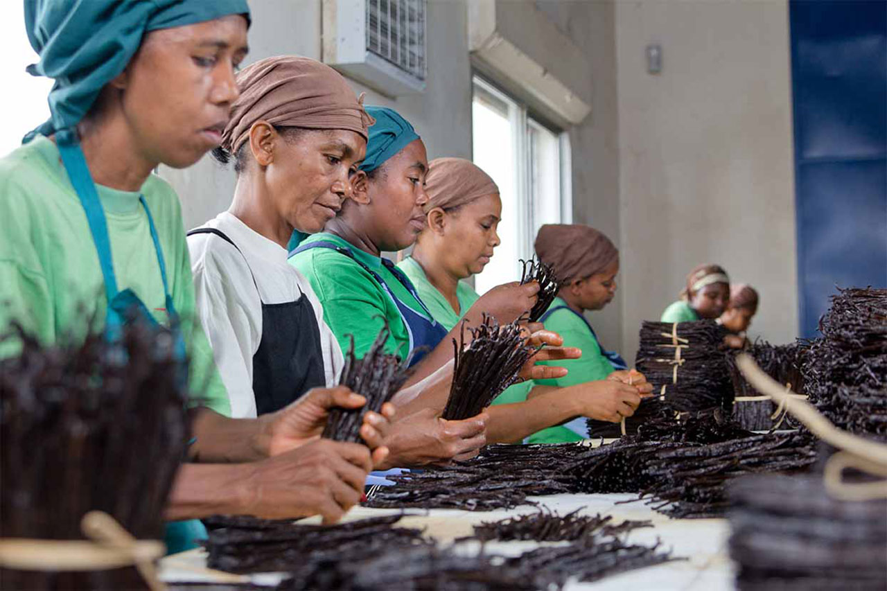 Workers pack vanilla at a spice factory in Prova, Madagascar, 2006. Credit: Barry Callebaut / Flickr
