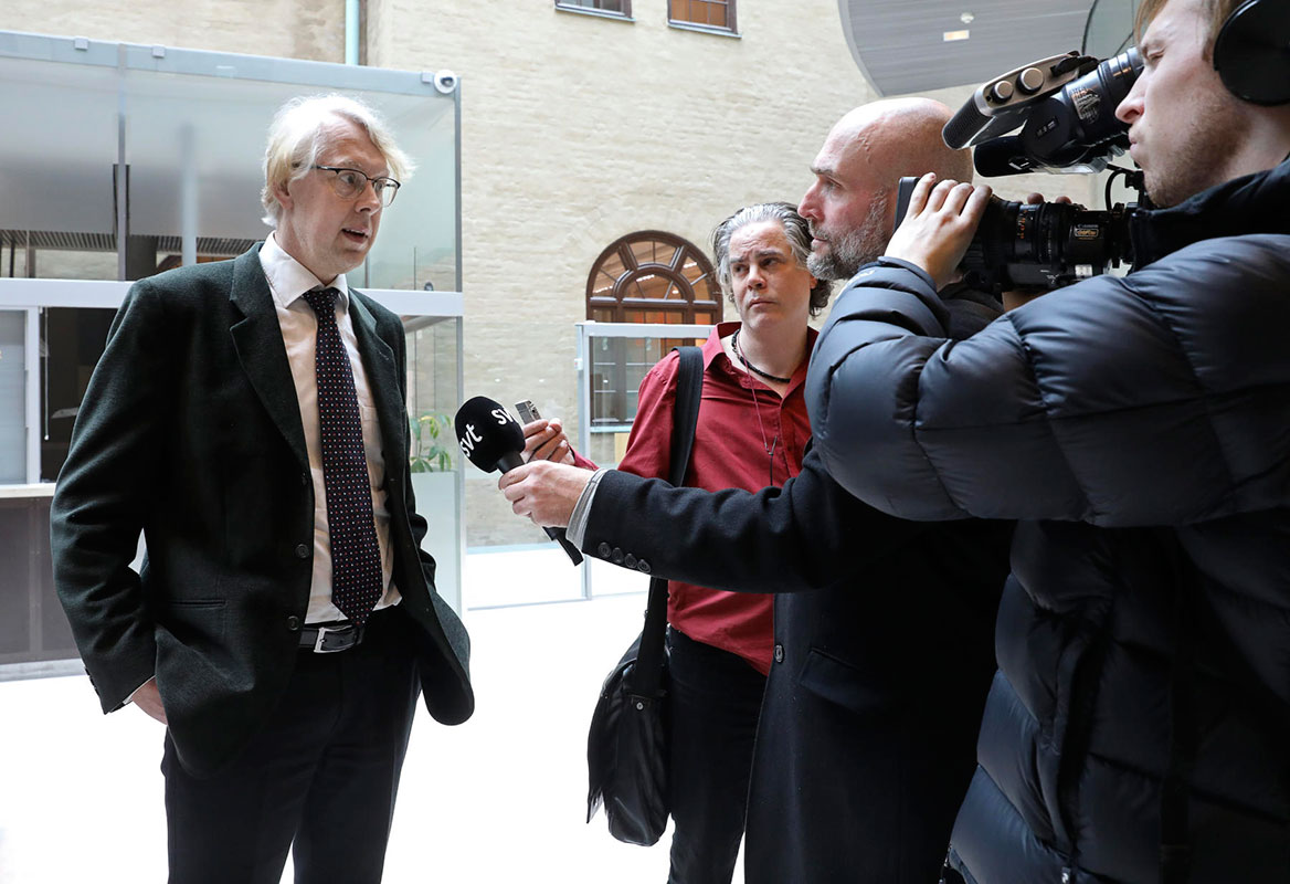 Swedish anti-corruption prosecutor Thomas Forsberg announces the arrest of a Bombardier Sweden employee as part of an ongoing investigation into the company for allegedly bribing Azerbaijani officials on Friday, March 10. (Photo: Sören Andersson, TT News Agency)