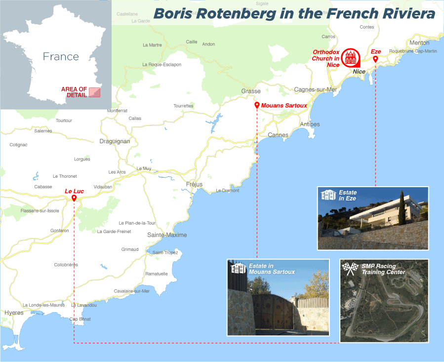 Boris Rotenberg in the French Riviera. Click to enlarge. (Edin Pasovic, OCCRP)