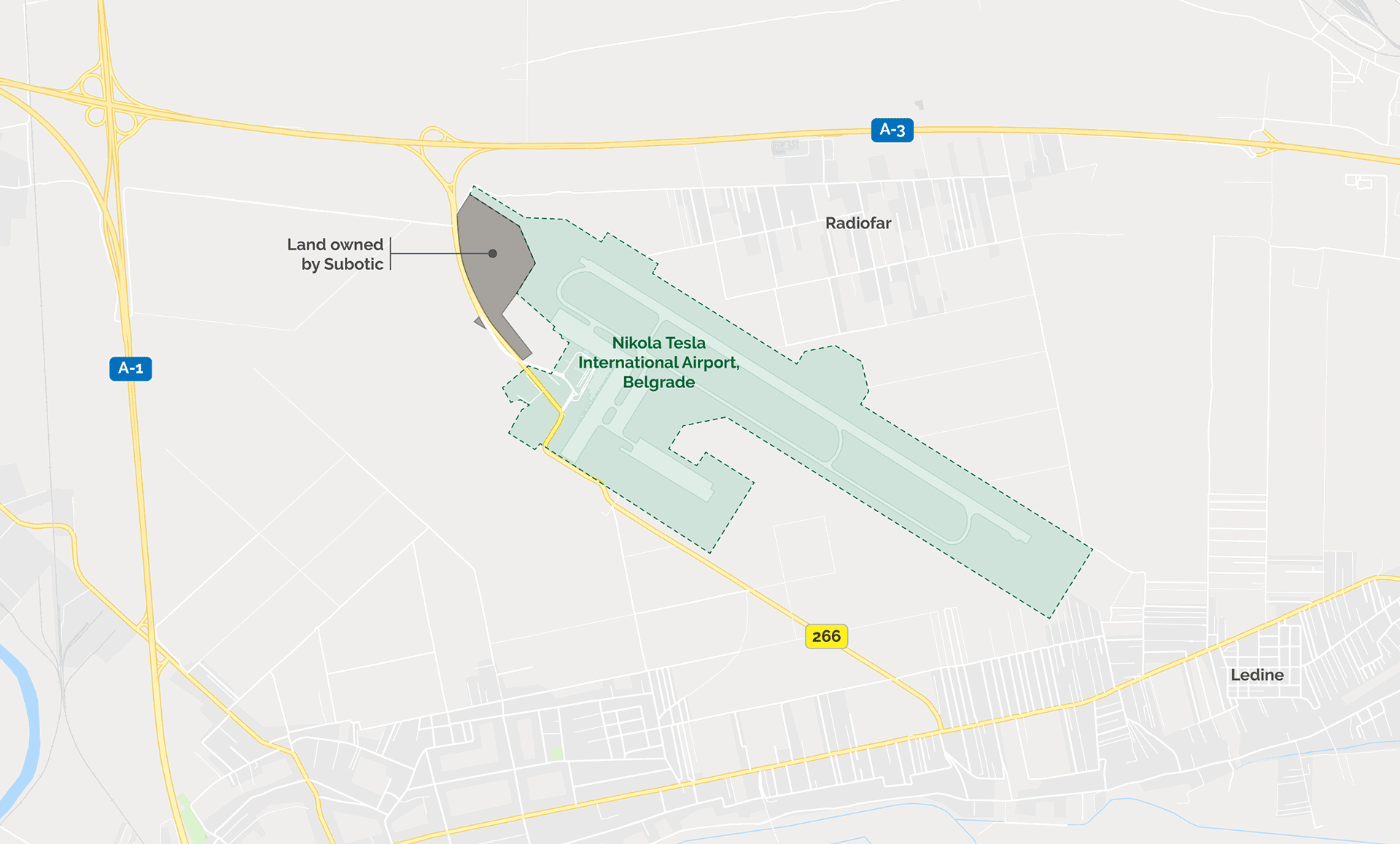 The 28 hectares of Stanko Subotic's land slated for airport expansion. (Map: Edin Pasovic, OCCRP)