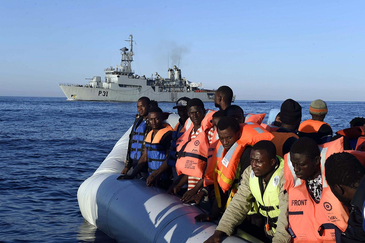 Rescued male migrants are brought to southern Italian ports, 28 June 2015; Irish Defence Forces LE Eithne Operations 28 June 2015.