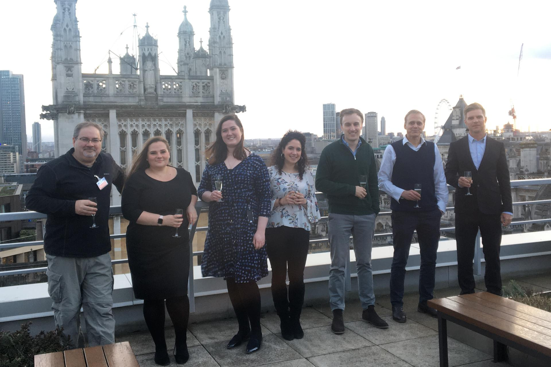 OCCRP journalists and their legal team in London. (Credit: OCCRP)