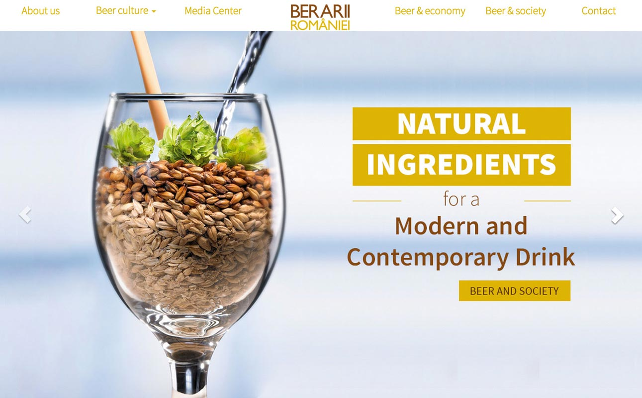 A screenshot from the homepage of The Brewers of Romania Association, a group that represents the interests of Romania's largest commercial Brewers, including Heineken Romania, Ursus Breweries, Bergenbier and United Romanian Breweries Bereprod (Tuborg Romania).
