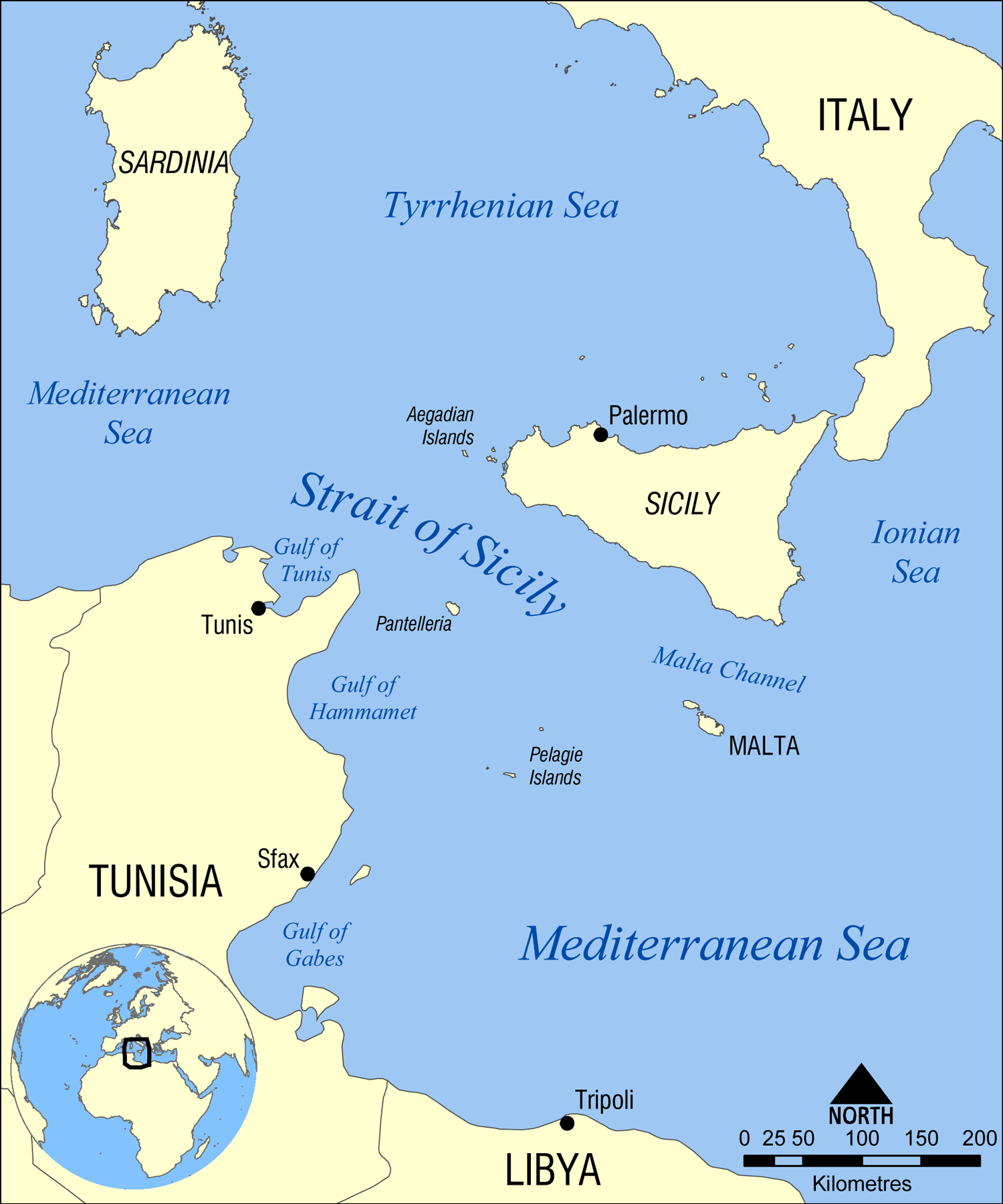 A map of the Strait of Sicily, between Tunisia and the Italian island. (Credit: Norman Einstein (CC BY-SA 2.0))