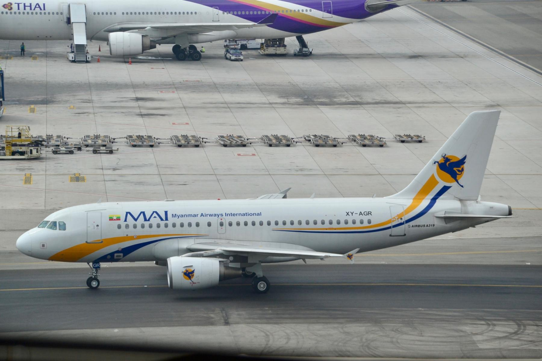 An Airbus A319 acquired by Myanmar's military from a domestic airline on the runway in Bangkok in 2014 CREDIT: Alec Wilson/Creative Commons