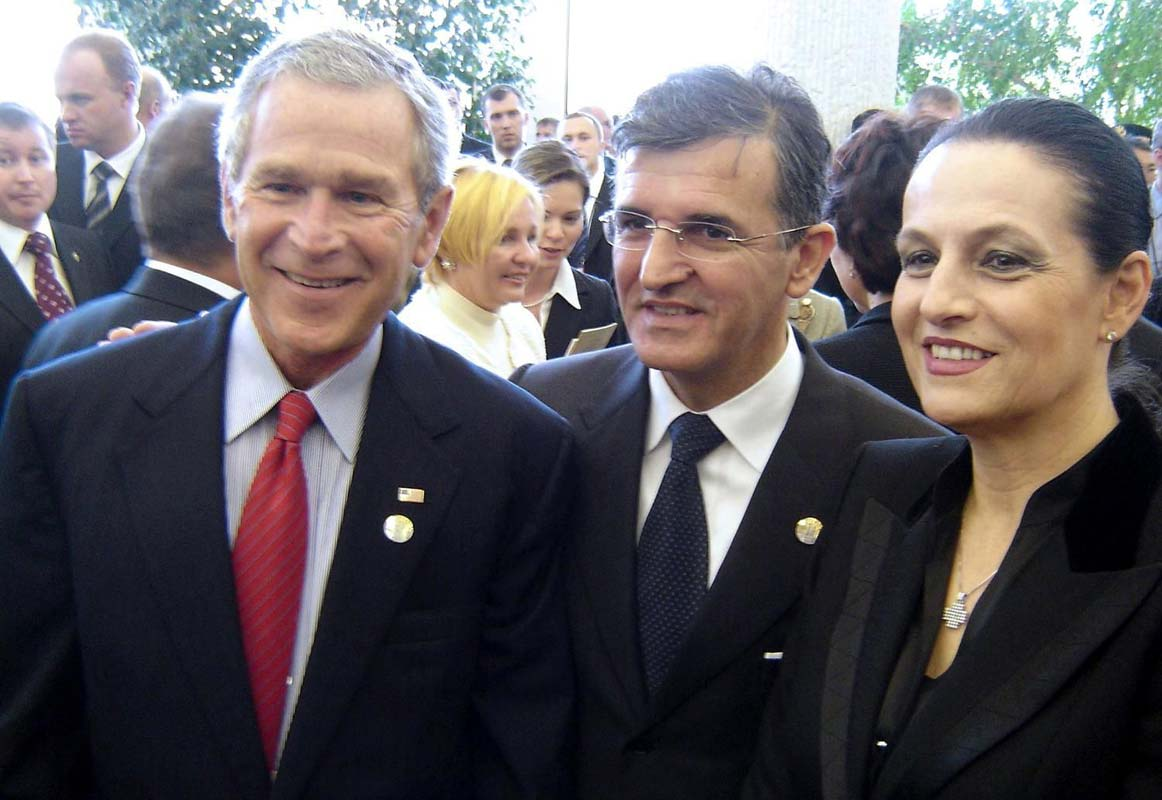 Svetozar Marovic, pictured here with his wife Djordjina and then US president George Bush, has held public office since 1990. (Photo by Dan)